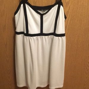White and black babydoll tank top
